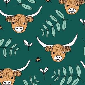 Adorable highland cattle sweet spring cows with horns Scandinavian kids design green gender neutral