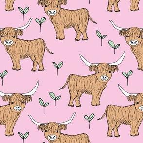 Adorable highland cattle fields sweet spring cows with horns Scandinavian kids design pink mint girls