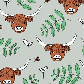 Adorable highland cattle sweet spring cows with horns Scandinavian kids design leaves baby mint green gender neutral