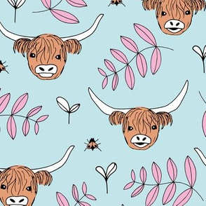 Adorable highland cattle sweet spring cows with horns Scandinavian kids design leaves baby blue girls pink