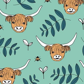 Adorable highland cattle sweet spring cows with horns Scandinavian kids design leaves baby mint green