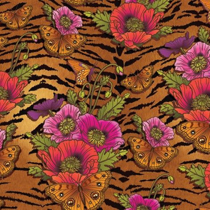 Poppies & Butterflies On Tiger Print