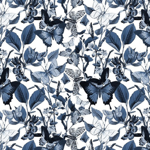 """Butterfly Sanctuary ~ Blue and White ~ 12"""""""