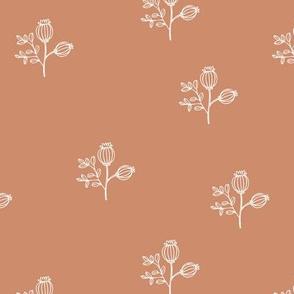 Sweet poppy flowers botanical floral spring summer print spring soft caramel brown