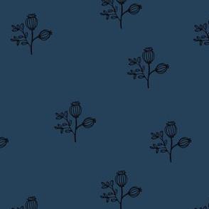 Sweet delicate poppy flowers botanical floral spring summer print spring soft navy blue boys nursery