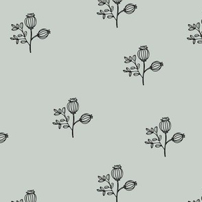 Sweet delicate poppy flowers botanical floral spring summer print spring soft mint green nursery