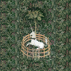 The Unicorn Is In Captivity ~ Floral Tapestry ~ Green _ Peacoquette Designs _ Copyright 2018