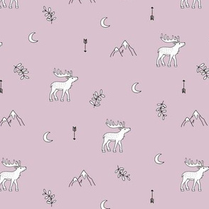 Little dreamy deer mountains sweet canada mountains design moon and arrows lilac baby girls nursery