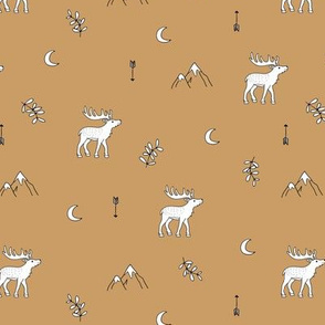 Little dreamy deer mountains sweet canada mountains design moon and arrows neutral ochre fall