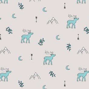 Little dreamy deer mountains sweet canada mountains design moon and arrows pastel beige blue