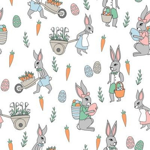 bunny farm fabric - cute bunnies fabric, easter fabric, baby easter, nursery easter, cute bunny rabbit fabric - white