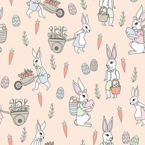 bunny farm fabric - cute bunnies fabric, easter fabric, baby easter, nursery easter, cute bunny rabbit fabric - peach