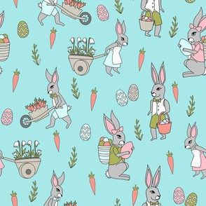 bunny farm fabric - cute bunnies fabric, easter fabric, baby easter, nursery easter, cute bunny rabbit fabric - turquoise