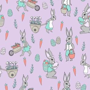 bunny farm fabric - cute bunnies fabric, easter fabric, baby easter, nursery easter, cute bunny rabbit fabric - lilac