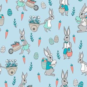 bunny farm fabric - cute bunnies fabric, easter fabric, baby easter, nursery easter, cute bunny rabbit fabric - blue