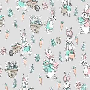 bunny farm fabric - cute bunnies fabric, easter fabric, baby easter, nursery easter, cute bunny rabbit fabric - grey