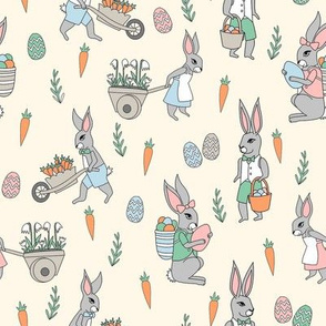 bunny farm fabric - cute bunnies fabric, easter fabric, baby easter, nursery easter, cute bunny rabbit fabric - cream