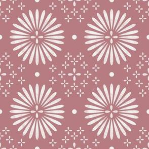boho sun fabric - bohemian fabric, mudcloth fabric, gender neutral fabric, baby bedding fabric -  rose