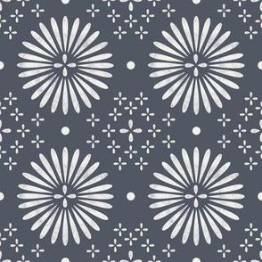 boho sun fabric - bohemian fabric, mudcloth fabric, gender neutral fabric, baby bedding fabric - dark indigo