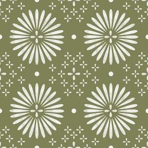 boho sun fabric - bohemian fabric, mudcloth fabric, gender neutral fabric, baby bedding fabric - green