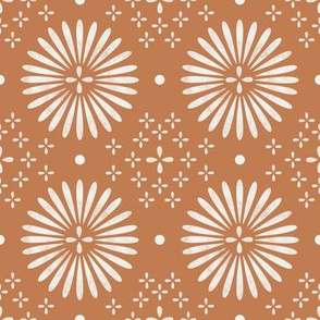 boho sun fabric - bohemian fabric, mudcloth fabric, gender neutral fabric, baby bedding fabric - terracotta