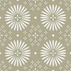 boho sun fabric - bohemian fabric, mudcloth fabric, gender neutral fabric, baby bedding fabric - sage