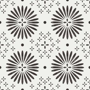 boho sun fabric - bohemian fabric, mudcloth fabric, gender neutral fabric, baby bedding fabric - black