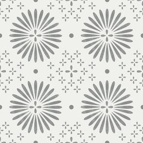 boho sun fabric - bohemian fabric, mudcloth fabric, gender neutral fabric, baby bedding fabric - grey