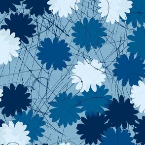 daisy heart repeat classic blue