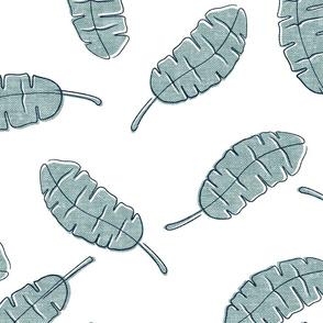 banana leaf - tropical leaves - dusty blue - LAD20