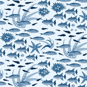 Lots of fish in blue