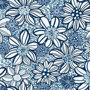 Linocut style Dark Blue Floral pattern
