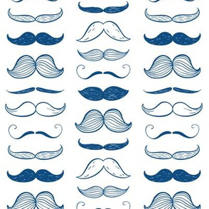 classic blue mustaches  -  small scale