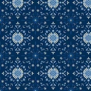Classic Blue Geometric Starry Tile