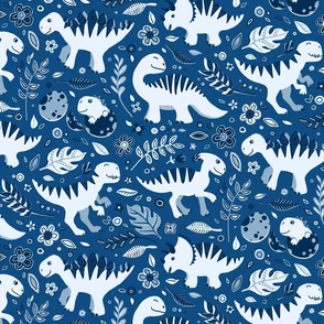 Dino Floral in Classic Blues