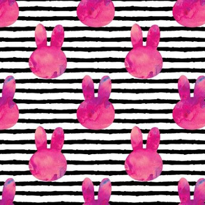 "(med scale) bunny on stripes || watercolor dark pink - 1.5"" wide - C20BS"