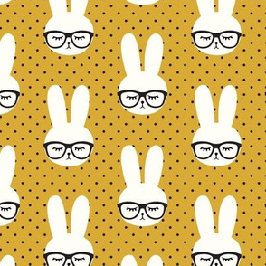 (med scale) bunny with glasses - mustard polka C20BS