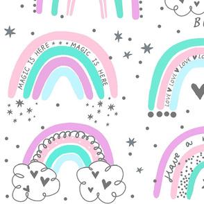 hipppie pastel rainbow large