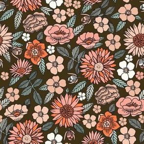 MED Happy Flowers fabric - 70s flowers, seventies floral, floral, retro floral, 60s flower fabric, 70s flower fabric, retro flowers fabric - dark