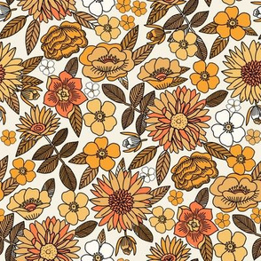 MEd Happy Flowers fabric - 70s flowers, seventies floral, floral, retro floral, 60s flower fabric, 70s flower fabric, retro flowers fabric - yellow