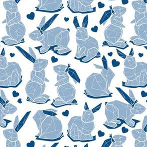 Small scale // Geometric Easter bunnies // white background slate blue rabbits with classic blue ears white lines and blue hearts