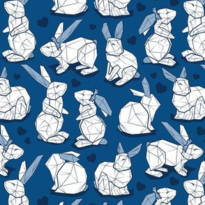 Small scale // Geometric Easter bunnies // classic blue background white rabbits with slate blue ears blue lines and midnight blue hearts