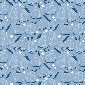 Tiny scale // Geometric Easter bunnies // slate blue background blue rabbits with classic blue ears white lines and hearts