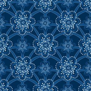 Starburst Floral - Classic Blue - Large