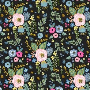 """4"""" Blue and Pink Florals Muted Black"""