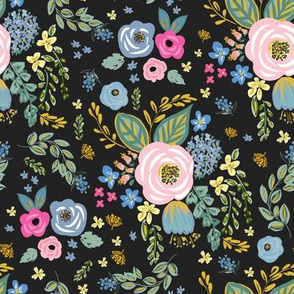 """8"""" Blue and Pink Florals Muted Black"""