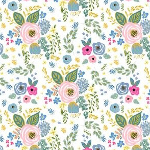 """4"""" Blue and Pink Florals White Back"""
