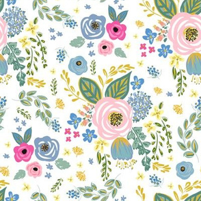"""8"""" Blue and Pink Florals White Back"""