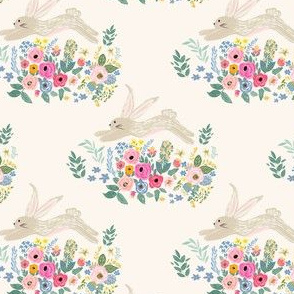 "4"" Bunny and Blooms Ivory Back"