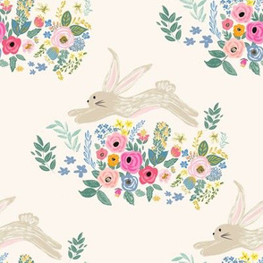 "8"" Bunny and Blooms Ivory Back"